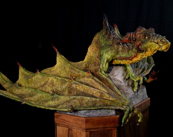Example of Large Scale Commission Work: Full Scale One of a Kind Dragon Sculpture