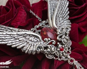 Statement Necklace  - Winged Romantic Pendant - Angel Wings Necklace - Victorian Gothic Jewelry