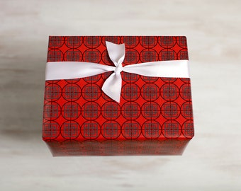 Red Recycled Gift Wrap, Modern Wrapping Paper, Eco Luxe Gift, Made in the USA, Dis-Orient, Round, Black, Everyday Gift Wrap, Any Occasion