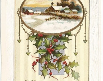 Winter Church Scene Snow covered Country Christmas A Bright and Happy Christmas with Holly Branch Swag Vintage Postcard