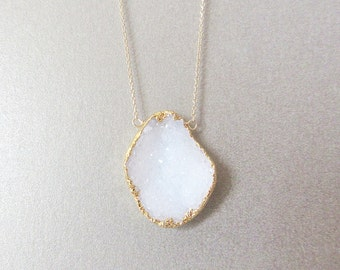 Druzy Necklace - Geode Druzy Necklace - Layering Necklace Gold Necklace