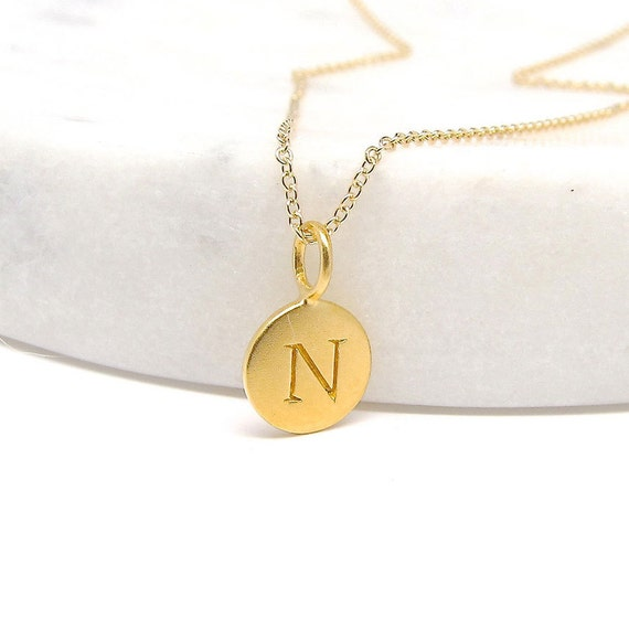 Gold Initial Charm Necklace - Gold Necklace - Personalized Jewelry