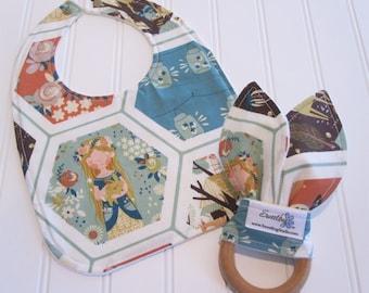 SWEET NATURALS/Organic Line/Newborn Gift Set/Infant Bib & Teether/Fort Firefly(Organic)/Organic Fleece Backing