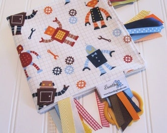 Sensory Ribbon Blanket,Lovey,Tag Blanket/Robot Factory(Organic)/Organic Cotton Fleece