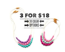 3 for 18 Simple Silicone Teething Necklace - Teething Jewelry / Nursing Necklace / Chewelry / Chew Beads / Baby Shower Gift / Adult or Kid