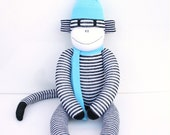 Ollie the Sock Monkey - black and white stripes with aqua - READY TO SHIP