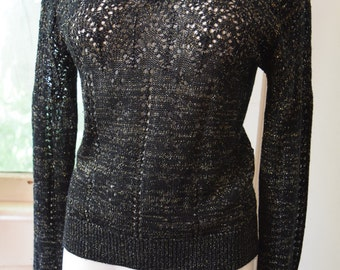 Black with Gold and Silver Sweater Top Loose Knit Sheer Vintage 1970s 1980s Lightweight Sweater