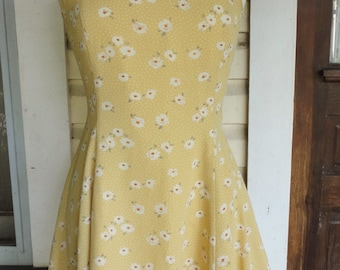 Ditzy Floral Minidress Sundress Sleeveless Summer Dress 1990s Pale Mustard Yellow