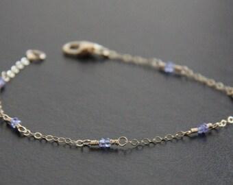Blue Violet Tanzanite Bracelet, 14k Gold Filled Jewelry,  Blue Stone Bracelet, Dainty Jewelry