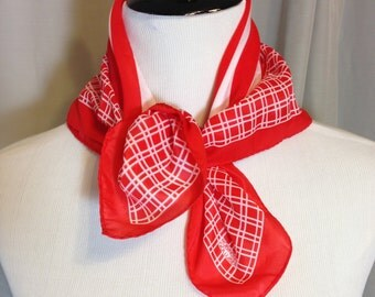Red and White Stripped Nautical Scarf or Pocket Square by Robinson Golluber with Hand Rolled Hem, 21.25 Inches by 21.5 Inches