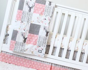 Girl Crib Bedding, Coral, Taupe, Woodlands Baby Bedding, Deer Crib Sheet, Woodlands Baby Blanket, Arrow Crib Set, Woodlands Nursery