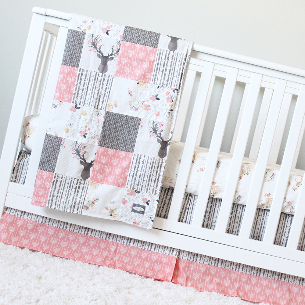 Girl Crib Bedding Coral Taupe Woodlands Baby Bedding Deer