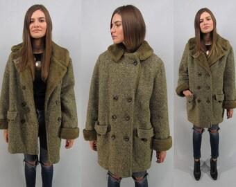 Vintage 60s Tweed Coat, Mod Coat, Faux Fur Lined Coat, Heavy Winter Coat, Herringbone Coat Δ size: lg