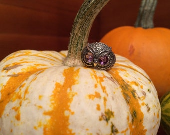 Steampunk Owl Ring Amethyst Eyes / sterling silver / october / halloween / mystical creature / steampunk  Owl Jewelry