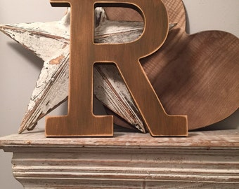 Hand-painted Wooden Letter R - Freestanding - Rockwell Font - Various sizes, finishes and colours - 30cm