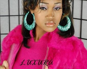 Hoop Earrings, Bamboo Earrings, Statement Earrings, Leopard Print, Big Bold Earrings, Tribal Jewelry, African Jewelry,Fashion, Jewelry Sale