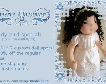 """Custom waldorf doll, waldorf inspired doll, 16"""", steiner doll, handmade waldorf doll, organic waldorf doll, cloth doll, DEPOSIT ONLY!"""