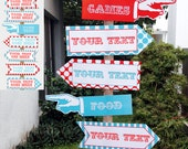 Circus Directional Signs - Direction Arrows - Red Aqua - Carnival or Circus Party - INSTANT DOWNLOAD with EDITABLE text - comes in 2 sizes
