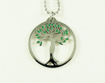 Tree Of Life Pendant Necklace,  Stainless Steel And Enameled Green  Womens Gift
