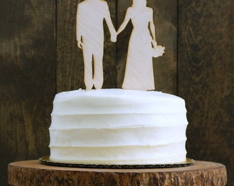 Rustic Personalized Silhouette Wedding Cake Topper with Custom Silhouettes of YOU - made by Simply Silhouettes