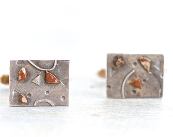 Abstrat Art Cuff Links - Sterling Silver and Copper - Modern Design