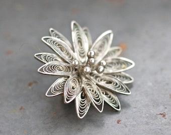 Filigree Flower Lapel Pin - Antique Dainty Patina Brooch