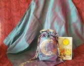 Made to Order, Waning Moon, Tarot Pouch, Tarot Cloth, Tribal Moon, Teal, Purple, Wiccan Gifts, Silk Lined, Altar Cloth, Handmade Bag