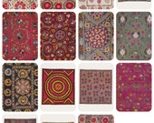 Uzbek Suzani (Decorative embroidery). Set of 14 Prints, Postcards (out of 16) in original cover -- 1981
