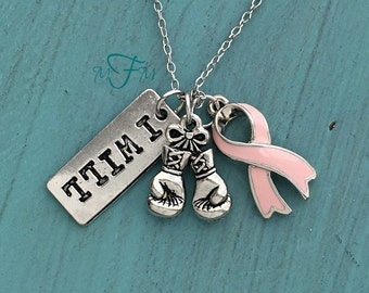 I Will Fight Breast Cancer Charm Necklace, PINK Ribbon Breast Cancer Awareness, Cancer Survivor, Silver Pewter, Custom Necklace