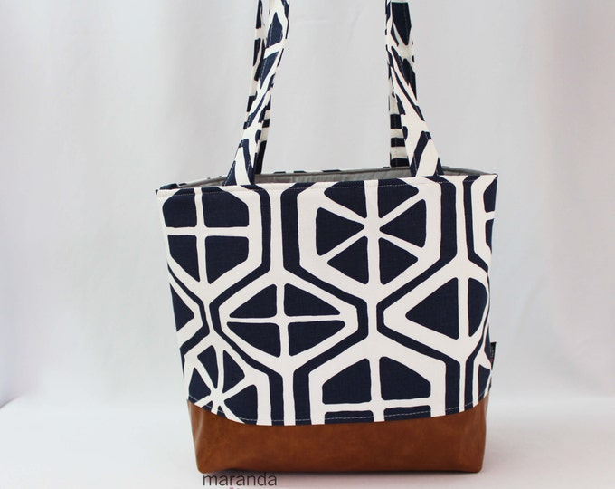 SALE Lulu Large Tote Diaper Bag Aiden Navy and PU Vegan Leather READY to SHIp- With Shoulder Straps 6 pockets