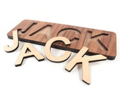 wooden name puzzle - a personalized wood toy for child, custom cutout wood alphabet letters and educational toy - you choose 3-9 characters