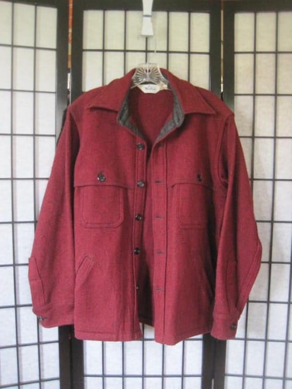 Vintage Woolrich Jacket Thick Heavyweight Wool Flannel Large 1970s CPO Shirtjacket Maroon Black Tweed Look 44 S M Dark Red Jac Shirt
