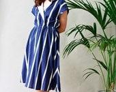 80s cotton nautical midi shirt dress