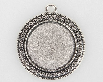 50 Pendant Trays, 25mm Cabochon Setting, Round Pendant, Antique Silver, Blank Pendant, Jewelry Supplies, Findings, Crafts, Earrings, Charm