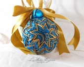 Hanging Quilted Ornament Ball Gold Teal Satin Brocade with Bells and Ribbon Bows