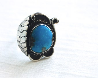 Turquoise Boho Ring Size 6 .75 Southwestern Statement Jewelry Vintage Sterling Silver Dyed Blue Turquoise