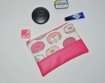 READY TO SHIP Pink Leather Clutch Purse - Donut Zip Pouch - Mini Clutch Accessory Pouch - Donut Lovers Gift - Gift for Her