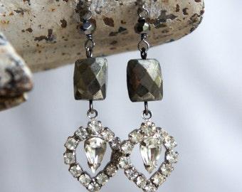 Vintage rhinestone earrings gemstone earrings pyrite jewelry vintage rhinestone dangles assemblage jewelry F336-by French Feather Designs.