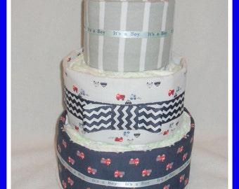 Baby Boy Diaper Cake-Incredible Fire Truck Themed -Gorgeous Centerpiece