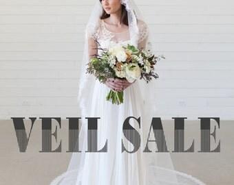 Traditional Veil, Cathedral length veil, ivory lace edge veil, eyelash lace veil, bridal veil, wedding veil, mantilla veil, long veil