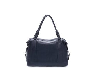 Navy blue simple leather handbag with double handle and long shoulder straps