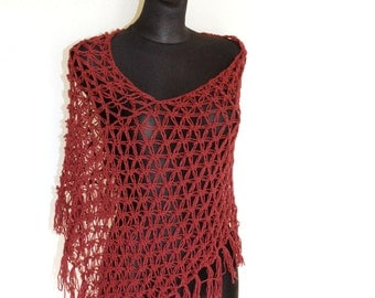 Summer Poncho in Rust Red, Oxblood Crochet Poncho with Tassels, Women's Poncho, Loose Crochet Poncho with Fringes