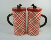 Vintage SCOTTIE LATTE MUG Set/2 Red Plaid Coffee Cup Scottish Terrier Lid