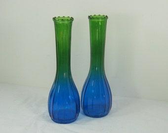 Vintage AMBERINA VASES Set/2 Blue Green OMBRE Jeanette Glass Bud Vase