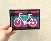 Bike, magenta plaid, mini 4x6 inch canvas, freehand applique, all recycled fabrics, sewn on 1968 Singer, ready to hang