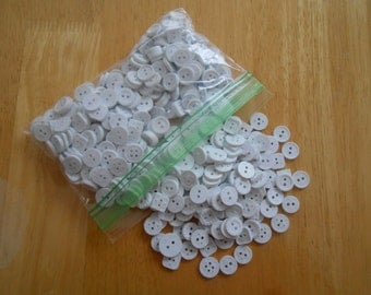 Buttons - White Sewing Buttons - 1/4 inch White Buttons - Over 440 Buttons