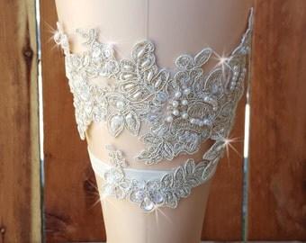 Gold Lace Wedding Garter set/  Lace Garter/ Gold Metallic Lace Bridal Garter Set /Wedding Garter Belt /Hand Beaded BOMBSHELL Wedding Garter