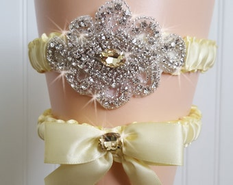 Yellow Wedding Garter Set/  Yellow Crystal Bridal Garter Set/   Wedding Garter Belt /