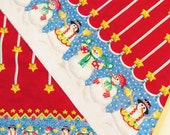 Daisy Kingdom Snowman Fabric, Blizzard Boys Border 38120 2 yds Cotton Christmas Fabric Red White Blue Green Double Snowman Border Print OOP
