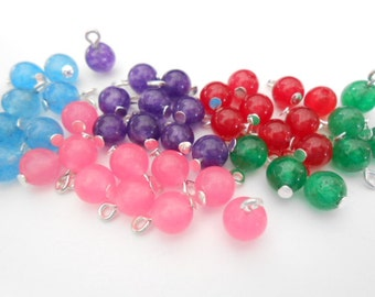 Colorful Natural White Jade Dyed Dangle Beads
